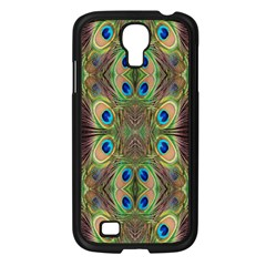 Beautiful Peacock Feathers Seamless Abstract Wallpaper Background Samsung Galaxy S4 I9500/ I9505 Case (Black)