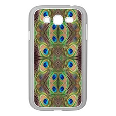 Beautiful Peacock Feathers Seamless Abstract Wallpaper Background Samsung Galaxy Grand DUOS I9082 Case (White)