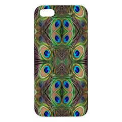 Beautiful Peacock Feathers Seamless Abstract Wallpaper Background iPhone 5S/ SE Premium Hardshell Case