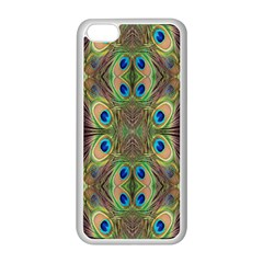 Beautiful Peacock Feathers Seamless Abstract Wallpaper Background Apple iPhone 5C Seamless Case (White)