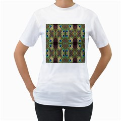 Beautiful Peacock Feathers Seamless Abstract Wallpaper Background Women s T-Shirt (White)