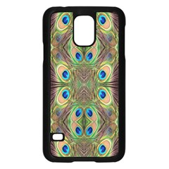 Beautiful Peacock Feathers Seamless Abstract Wallpaper Background Samsung Galaxy S5 Case (black)