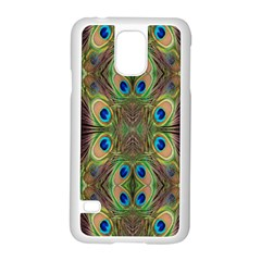 Beautiful Peacock Feathers Seamless Abstract Wallpaper Background Samsung Galaxy S5 Case (White)