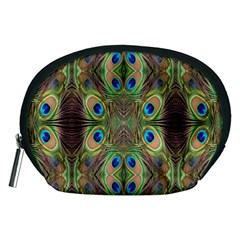 Beautiful Peacock Feathers Seamless Abstract Wallpaper Background Accessory Pouches (medium)