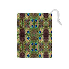 Beautiful Peacock Feathers Seamless Abstract Wallpaper Background Drawstring Pouches (medium)