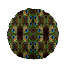 Beautiful Peacock Feathers Seamless Abstract Wallpaper Background Standard 15  Premium Flano Round Cushions