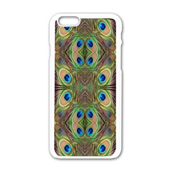 Beautiful Peacock Feathers Seamless Abstract Wallpaper Background Apple Iphone 6/6s White Enamel Case