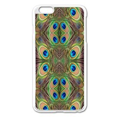 Beautiful Peacock Feathers Seamless Abstract Wallpaper Background Apple iPhone 6 Plus/6S Plus Enamel White Case
