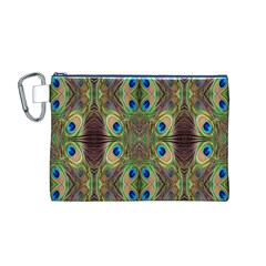 Beautiful Peacock Feathers Seamless Abstract Wallpaper Background Canvas Cosmetic Bag (M)
