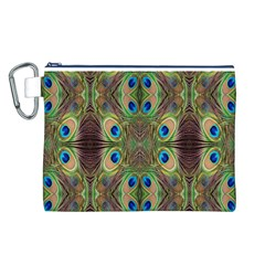 Beautiful Peacock Feathers Seamless Abstract Wallpaper Background Canvas Cosmetic Bag (L)
