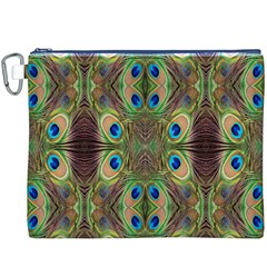 Beautiful Peacock Feathers Seamless Abstract Wallpaper Background Canvas Cosmetic Bag (XXXL)