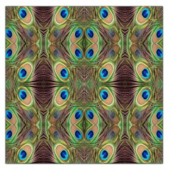 Beautiful Peacock Feathers Seamless Abstract Wallpaper Background Large Satin Scarf (square)