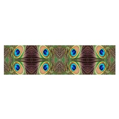 Beautiful Peacock Feathers Seamless Abstract Wallpaper Background Satin Scarf (oblong)