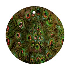 Peacock Feathers Green Background Ornament (Round)