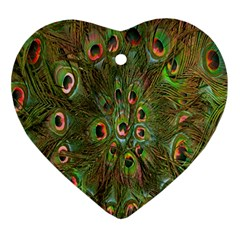 Peacock Feathers Green Background Ornament (heart)