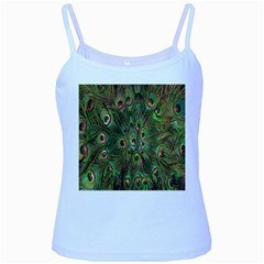 Peacock Feathers Green Background Baby Blue Spaghetti Tank