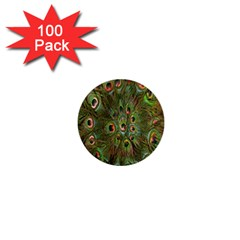 Peacock Feathers Green Background 1  Mini Buttons (100 Pack)