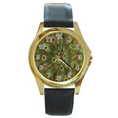 Peacock Feathers Green Background Round Gold Metal Watch