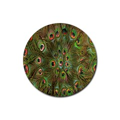 Peacock Feathers Green Background Rubber Coaster (round)