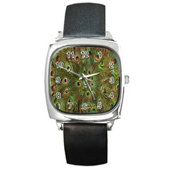 Peacock Feathers Green Background Square Metal Watch