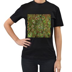 Peacock Feathers Green Background Women s T Shirt (black) (two Sided)