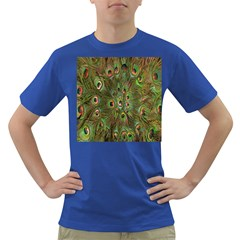 Peacock Feathers Green Background Dark T Shirt