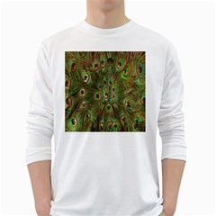 Peacock Feathers Green Background White Long Sleeve T-Shirts