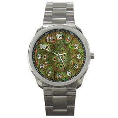 Peacock Feathers Green Background Sport Metal Watch