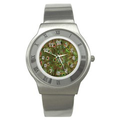 Peacock Feathers Green Background Stainless Steel Watch