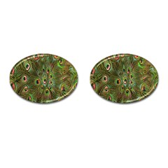 Peacock Feathers Green Background Cufflinks (oval)