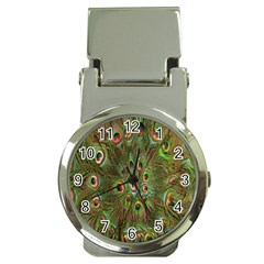 Peacock Feathers Green Background Money Clip Watches