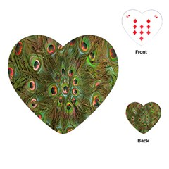 Peacock Feathers Green Background Playing Cards (heart)