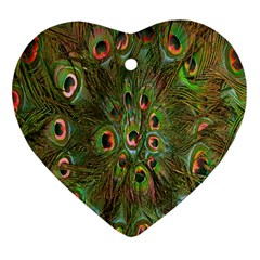 Peacock Feathers Green Background Heart Ornament (two Sides)