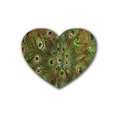 Peacock Feathers Green Background Rubber Coaster (heart)