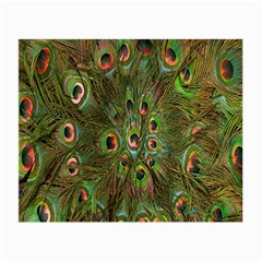 Peacock Feathers Green Background Small Glasses Cloth (2 Side)