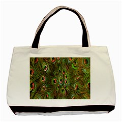 Peacock Feathers Green Background Basic Tote Bag (two Sides)