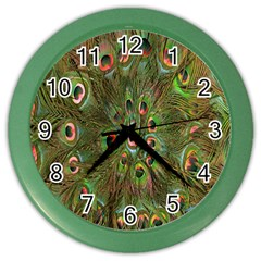 Peacock Feathers Green Background Color Wall Clocks