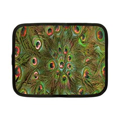 Peacock Feathers Green Background Netbook Case (Small)
