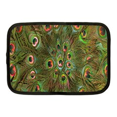 Peacock Feathers Green Background Netbook Case (medium)