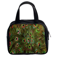 Peacock Feathers Green Background Classic Handbags (2 Sides)