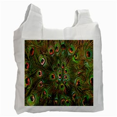 Peacock Feathers Green Background Recycle Bag (Two Side)