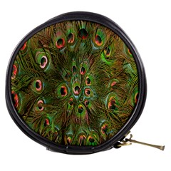 Peacock Feathers Green Background Mini Makeup Bags