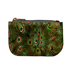 Peacock Feathers Green Background Mini Coin Purses