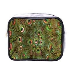 Peacock Feathers Green Background Mini Toiletries Bags