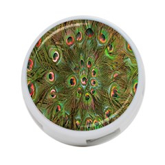 Peacock Feathers Green Background 4 Port Usb Hub (one Side)