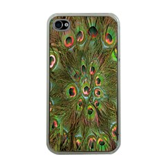 Peacock Feathers Green Background Apple iPhone 4 Case (Clear)