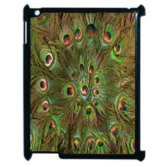 Peacock Feathers Green Background Apple iPad 2 Case (Black)