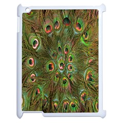 Peacock Feathers Green Background Apple iPad 2 Case (White)
