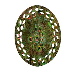 Peacock Feathers Green Background Oval Filigree Ornament (Two Sides)