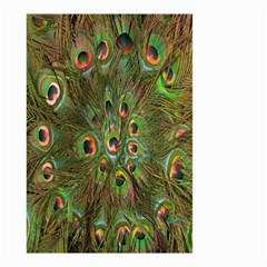 Peacock Feathers Green Background Small Garden Flag (two Sides)